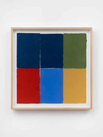 Ethan Cook, Three blues, green, red, ochre, 2020. Handmade pigmented paper 19 3/4 x 19 1/2 in, 50.2 x 49.5 cm (ECO20.053)