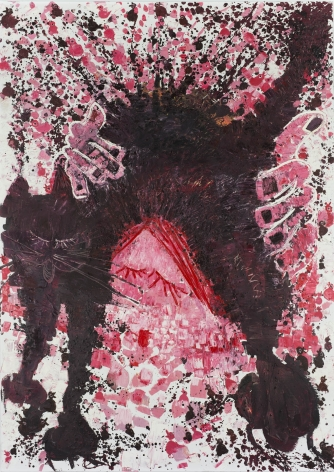 A large black cat arches in the center of the canvas, while red and pink spots of paint surround it.