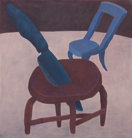 Ginny Casey Stabbed Stool, 2017 Oil on canvas 44 x 42 in 111.8 x 106.7 cm (GC17.014)