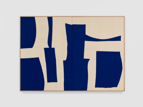 Ethan Cook Blue Bodies, 2021 Handwoven Cotton and linen, framed 50 x 70 inches 127 x 177.8 cms (ECO21.026)