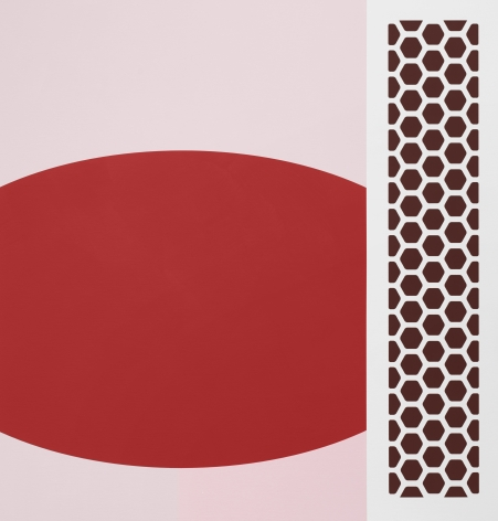 Thomas Wachholz Gabor, 2019 Red phosphorus and acrylic on canvas 43.3 x 41.3 x 1.4 in 110 x 105 x 3.6 cm (TW19.003)