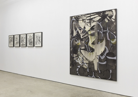 """Installation View of """"Osc Mix (series)"""", and """"Pitty"""" (Side)"""