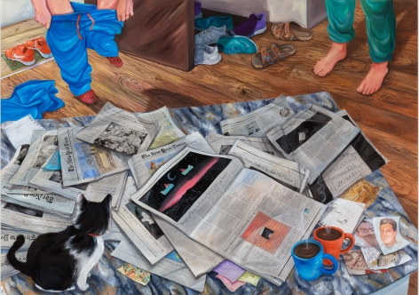 Rebecca Ness, Holly Coming Home, 2020. Oil on linen, 85 x 120 in, 215.9 x 304.8 cm (RNE20.008)
