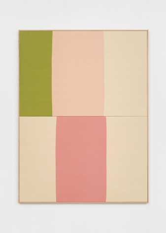 Ethan Cook Green Sqaure Lovers, 2020. Hand woven cotton and linen, framed 60 x 80 in, 152.4 x 203.2 cm (ECO20.017)