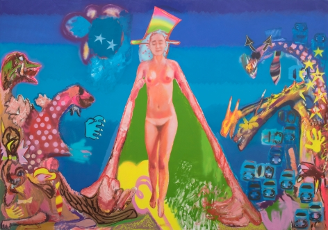 Alessandro Pessoli, Bethel Girl, 2019. Oil, spray paint, oil pastels, soft pastels on canvas, 126 x 88 in, 320 x 223.5 cm (AP19.018)