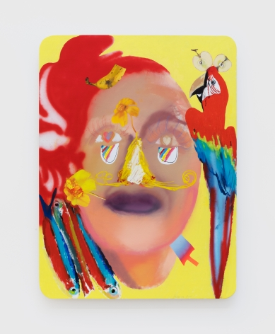 Alessandro Pessoli Face in Love, 2020 Oil, spray paint, oil pastels and pencil on wood panel 40 x 30 in 101.6 x 76.2 cm (APE20.014)