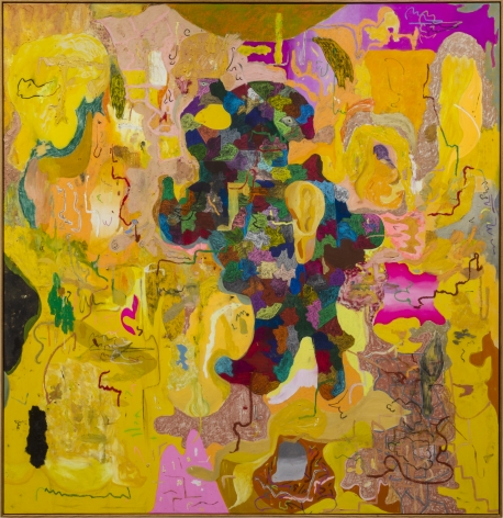 Michael Bauer Bad Yellow Moon, 2019 Oil, crayon, pastel and acrylic on canvas 73 1/2 x 76 in 186.7 x 193 cm (MB19.020)
