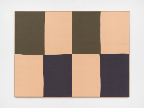 Ethan Cook, Untitled (peach, gray, olive), 2020. Hand woven cotton and linen, framed 72 x 96 in, 182.9 x 243.8 cm (ECO20.041)