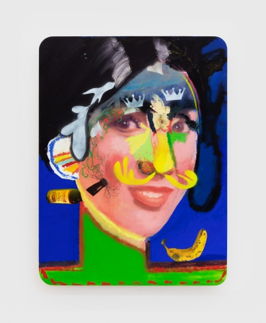 Alessandro Pessoli King Eva, 2020 Oil, spray paint, oil pastels and pencil on wood panel 40 x 30 in 101.6 x 76.2 cm (APE20.010)