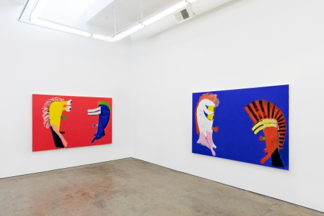 "Installation View of ""Black Elk Speaks"", a Red and a Blue painting by Wulff"