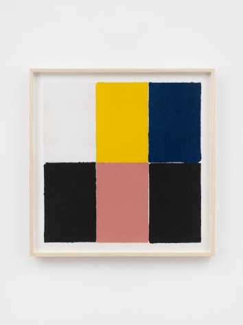 Ethan Cook, White, yellow, pink, blue, two blacks, 2020. Handmade pigmented paper 19 3/4 x 19 1/2 in, 50.2 x 49.5 cm (ECO20.023)