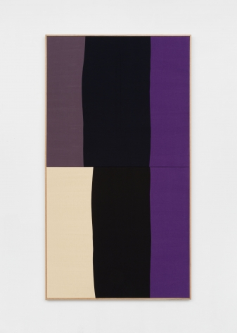 Ethan Cook, Nocturne, 2020. Hand woven cotton and linen, framed 86 x 47 in, 218.44 x 119.38 cm (ECO20.028)