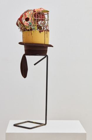 Aidas Bareikis, 67, remember the hat?, 2016. Hat, football helmet, foam, strings, play doh, paint, fiber glass, aqua resin, wire on the found stand, 39 x 12 x 12 inches (99.1 x 30.5 x 30.5 cm) ADB16.001