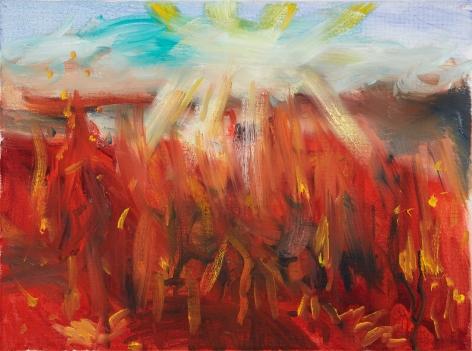 Celeste Dupuy-Spencer, Lighting Shadows, Leaving the 99, 2018. Oil on canvas, 9 x 12 in, 22.9 x 30.5 cm (CDS18.011)