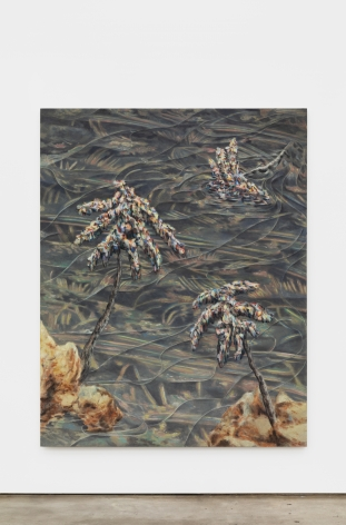 Marin Majic Down the Stream, 2021 Colored pencil, oil color, marble dust on linen 82 3/4 x 64 7/8 in 210.2 x 164.8 cm (MMA21.040)