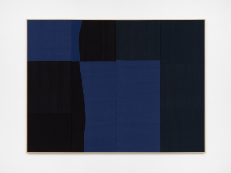 Ethan Cook, Blue Yodel, 2020. Hand woven cotton and linen, framed 72 x 96 in, 182.9 x 243.8 cm (ECO20.031)