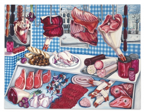 Nikki Maloof The Meat Stall with Squashed Pigeon, 2021 Oil on linen 60 x 78 in 152.4 x 198.1 cm (NMA21.020)