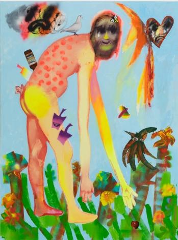Alessandro Pessoli, Polka dot Adam, 2020. Oil, oil bar, pencil, acrylic, spray paint, 57 x 77 in (APE20.007)