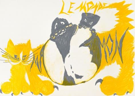 Bendix Harms, Le Monde Mamon, 2020. Wax crayon on paper, 19 3/4 x 27 1/2 in, 50 x 70 cm (BHA20.020)