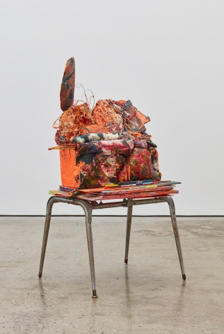 Aidas Bareikis, 67, what's the story?, 2016. Foam, wood, paper, strings, painting rag, play doh, water putty, paint, glue, baking soda,shaving cream, aqua resin, chalk, wire, plastic dear on the found stand 44 x 26 x 22 inches, (111.8 x 66 x 55.1 cm) ADB16.003