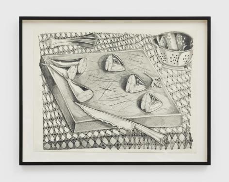 Nikki Maloof Cutting Board Study, 2021 Graphite on paper 11 1/2 x 15 1/2 in (unframed) 29.2 x 39.4 cm (unframed) 14 x 18 x 1 1/2 in (framed) (NMA21.005)
