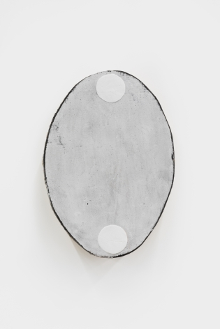 Otis Jones Oval with Two White Circles, 2021 Acrylic on linen on wood 20 1/2 x 14 1/2 x 3 in 52.1 x 36.8 x 7.6 cm (OJO21.008