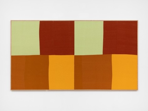 Ethan Cook, Sun with Red Horse, 2020. Hand woven cotton and linen, framed 47 x 86 in, 119.4 x 218.4 cm (ECO20.042)