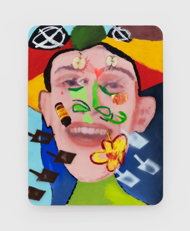 Alessandro Pessoli Jack, 2020 Oil, spray paint, oil pastels and pencil on wood panel 40 x 30 in 101.6 x 76.2 cm (APE20.011)