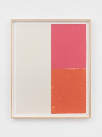 Ethan Cook, Two whites, pink, orange with yellow speckles, 2020. Handmade pigmented paper 31 x 25 1/4 in, 78.7 x 64.1 cm (ECO20.022)
