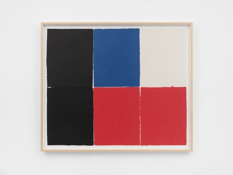 Ethan Cook, Two blacks, two reds, blue and white, 2020. Handmade pigmented paper 31 x 36 1/4 in, 78.7 x 92.1 cm (ECO20.019)