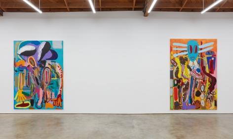 """Installation View of """" Wer hat Dr. Pfeffer erfunden?,"""", and """"Ernst Ludwig Kirchner Hinrichtung im Jahre 1999"""""""