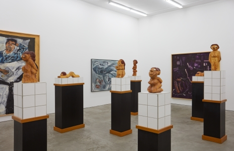 """Installation View of """"Damenbad KPX"""" series of sculptures, Left Angle Zoomed In"""