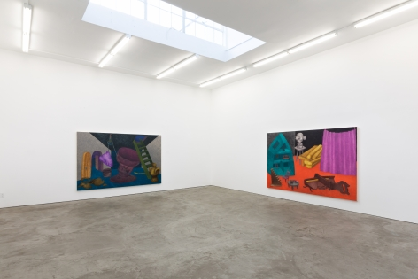 "Installation View of ""Escape Plan (Attic Door)"" and ""Behind the Curtain"""