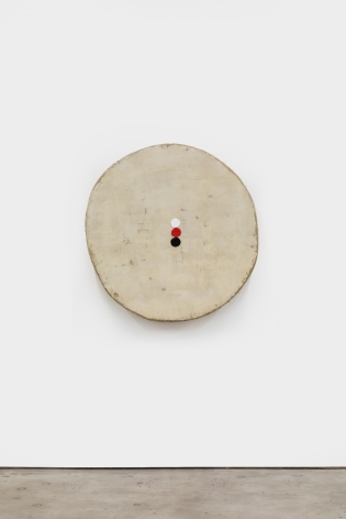 Otis Jones Tan with 3 Circles, Red, White, and Black, 2021 Acrylic on linen on wood 40 x 38 1/2 x 5 in 101.6 x 97.8 x 12.7 cm (OJO21.005)