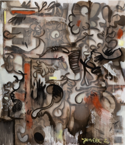 Jan-Ole Schiemann, Five Year Show Painting, 2020 Ink, acrylic, oil pastel and charcoal on canvas 90 1/2 x 78 3/4 in, 230 x 200 cm (JS20.035)
