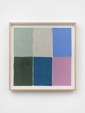 Ethan Cook, Two blues, two greens, gray and fuchsia, 2020. Handmade pigmented paper 19 3/4 x 19 1/2 in, 50.2 x 49.5 cm (ECO20.049)