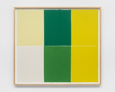 Ethan Cook, Alabaster, white, two greens, two yellows, 2020. Handmade pigmented paper 51 1/2 x 57 1/2 in, 130.8 x 146.1 cm (ECO20.025)