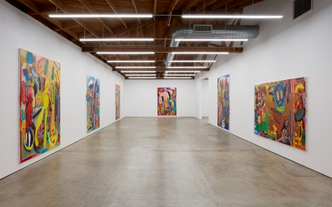 """Installation View of """"Goethe komischer Mann"""" (2019) from the Entrance"""