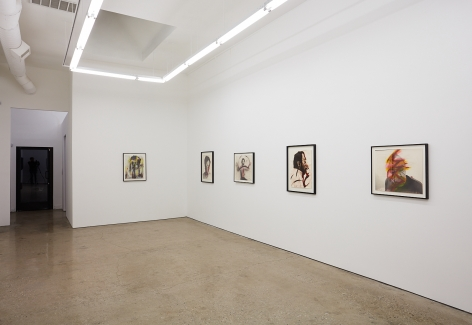 """Installation View of """"Face Farces"""" (2019) facing Entrance angled to the Right"""