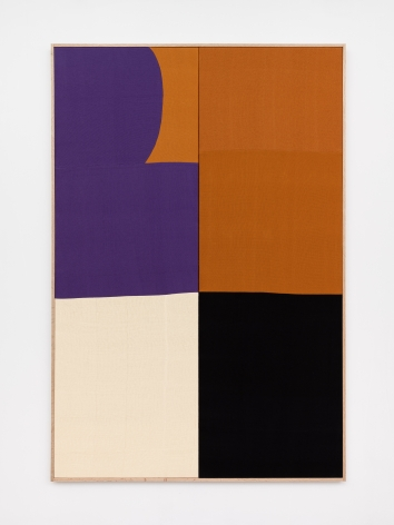 Ethan Cook, Purple Curve, 2020. Hand woven cotton and linen, framed 72 x 48 in, 182.9 x 121.9 cm (ECO20.039)