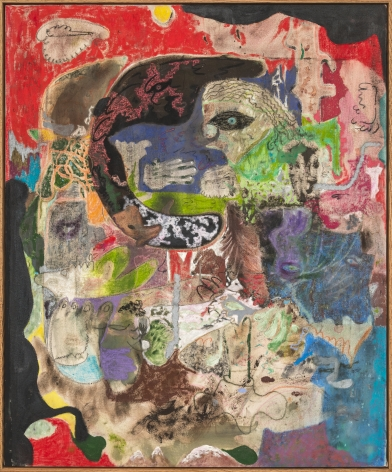 Michael Bauer Escalon Boogie, 2018 Oil, oil pastel, acrylic, charcoal on canvas 48 x 39 in 121.9 x 99.1 cm (MB18.003)
