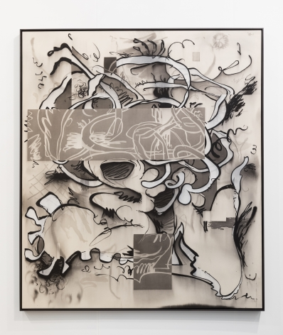 Jan-Ole Schiemann, Sketchy Paar Ohne TV, 2017, ink and acrylic on canvas, 72 x 62 in (182.9 x 157.5 cm), JS17.006