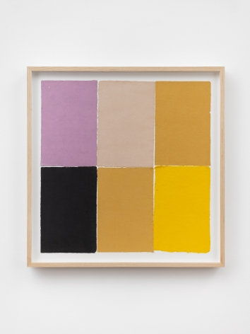 Ethan Cook, Fuchsia, black, tan, two ochre, yellow, 2020. Handmade pigmented paper 19 3/4 x 19 1/2 in, 50.2 x 49.5 cm (ECO20.047)
