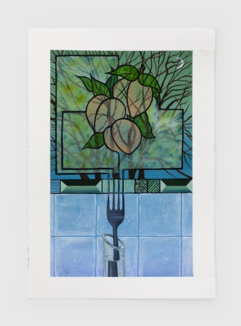 Marisa Adesman Growing Panes (Peaches), 2020 Oil on paper 9 x 6 1/4 in 22.9 x 15.9 cm (MAD20.005)