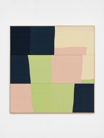 Ethan Cook, Les Fleurs, 2020. Hand woven cotton and linen, framed 70 x 72 in, 177.8 x 182.9 cm (ECO20.038)