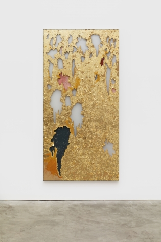 Cindy Phenix Own Destruction, 2020 Gold leaves, paper, oil and pastel on MDF 96 x 48 in 243.8 x 121.9 cm (CP20.023)