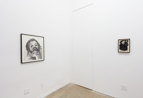 """Installation View of """"Untitled (Face Farces)"""" and """"Als Kind nannten sie mich Hase"""""""
