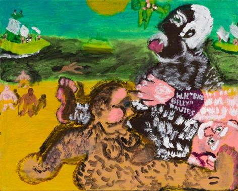 Raynes Birkbeck, MacArthur's on the Beach, 2020. Oil and acrylic on canvas, 16 x 20 in, 40.6 x 50.8 cm (RBI20.013)