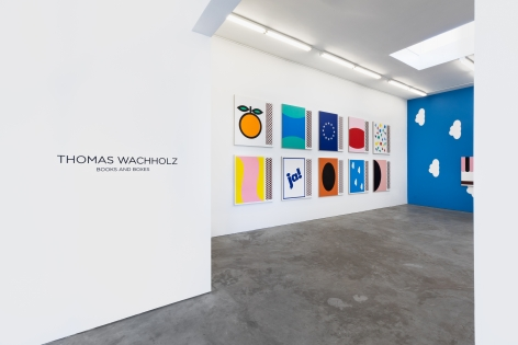 Installation view of Thomas Wachholz: Books and Boxes (July 20-August 31, 2019) at Nino Mier Gallery, Los Angeles