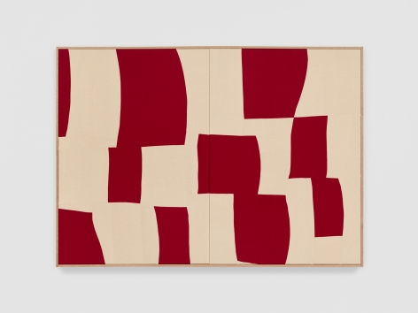 Ethan Cook Red Rondo, 2021 Handwoven Cotton and linen, framed 50 x 70 inches 127 x 177.8 cms (ECO21.028)